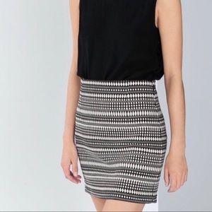 Zara Black & White Jacquard Mini Skirt Size XS